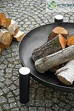 Dreifuß-Grill aus schwarzem Stahl, 180 cm inkl. Feuerschale mit Loch, Höhe ca. 30 cm