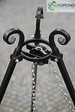 Dreifuß-Grill aus schwarzem Stahl, 180 cm inkl. Feuerschale mit Loch