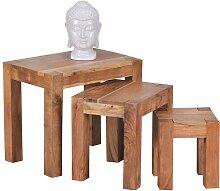 Dreisatztisch aus Akazie Massivholz natur
