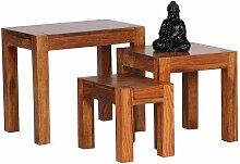 Dreisatztisch aus Sheesham Massivholz lackiert