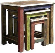 Dreisatztisch in Bunt Shabby Chic Look (3-teilig)