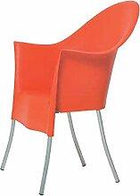 Driade Lord Yo Stuhl, orange Pantone 17-1464 TPX Kunststoff für Innen- und Außenbereich geeigne