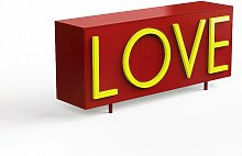 Driade Love Sideboard B 183cm rubinrot / fluo gelb