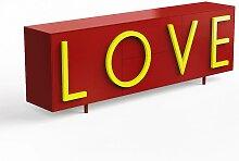 Driade Love Sideboard B 243cm rubinrot / fluo gelb