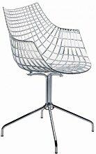 Driade Meridiana Armlehnstuhl mit Kreuzgestell, transparent Polycarbonat ohne Rollen