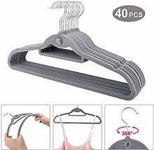 Dripex–40x Samt-Kleiderbügel, rutschfeste, sehr dünne Kleiderbügel mit Kerben & extra Steg für Accessoires grau