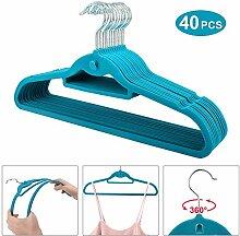Dripex–40x Samt-Kleiderbügel, rutschfeste, sehr dünne Kleiderbügel mit Kerben & extra Steg für Accessoires blau