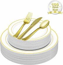 DRROT 100-Teilig Elegante Premium Besteck Set &