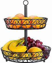 DRROT Obst Etagere 2-stöckig 30cm schwarz, mit 2