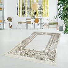 Druck-Teppich Flachflor Polyester Waschbar Klassisch Ornamente Mäander beige creme 80x150 cm