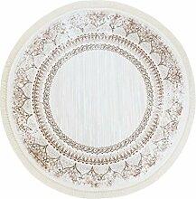 Druck-Teppich Flachflor Polyester Waschbar Klassisch Ornamente Mäander beige creme 150x150 cm rund