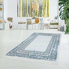 Druck-Teppich Flachflor Polyester Waschbar Klassisch Ornamente Mäander blau creme 80x200 cm