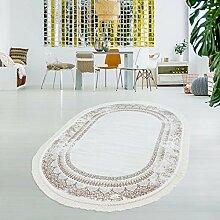 Druck-Teppich Flachflor Waschbar Vintage Klassisch Ornament Polyester Zeitlos Beige Creme, Größe in cm:130x190 Oval