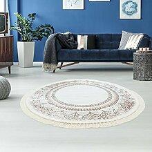 Druck-Teppich Flachflor Waschbar Vintage Klassisch Ornament Polyester Zeitlos Beige Creme, Größe in cm:150x150 Rund