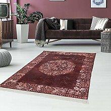 Druck-Teppich Teppich Waschbar Waschmaschine geeignet Klassisch Vintage Bordeaux Zeitlos Ornamente, Größe in cm:80x200cm