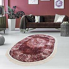 Druck-Teppich Teppich Waschbar Waschmaschine geeignet Klassisch Vintage Bordeaux Zeitlos Ornamente, Größe in cm:130x190 Oval