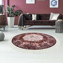 Druck-Teppich Teppich Waschbar Waschmaschine geeignet Klassisch Vintage Bordeaux Zeitlos Ornamente, Größe in cm:150x150 Rund