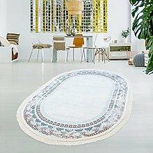Druck-Teppich Waschbar Klassisch Vintage Ornament Orientalisch Polyester Flachflor Blau Creme, Größe in cm:130x190 Oval