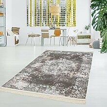 Druck-Teppich Waschbar Orientalisch Klassisch Vintage Teppich Beige Creme Polyester Flachflor, Größe in cm:80x200cm