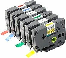 Druckeretikett,BEETETS 6pcs 12mm Standard lamellierter Drucker-Aufkleber-Band-Patrone Kompatibel mit Bruder P Note TZE 231 631 431 531 731 131
