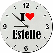 Druckerlebnis24 Glasuhr I Love Estelle eine tolle