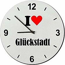 Druckerlebnis24 Glasuhr I Love Glückstadt eine