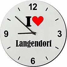Druckerlebnis24 Glasuhr I Love Langendorf eine