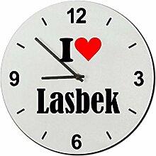Druckerlebnis24 Glasuhr I Love Lasbek eine tolle