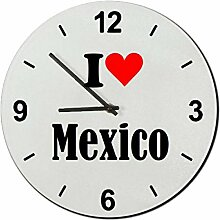Druckerlebnis24 Glasuhr I Love Mexico eine tolle