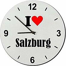Druckerlebnis24 Glasuhr I Love Salzburg eine tolle