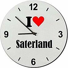 Druckerlebnis24 Glasuhr I Love Saterland eine