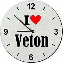 Druckerlebnis24 Glasuhr I Love Veton eine tolle