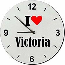Druckerlebnis24 Glasuhr I Love Victoria eine tolle