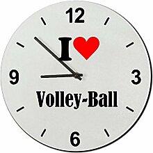 Druckerlebnis24 Glasuhr I Love Volley-Ball eine