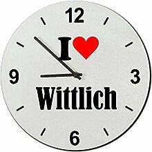 Druckerlebnis24 Glasuhr I Love Wittlich eine tolle