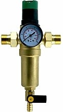 """Druckminderer mit Sedimentfilter und Manometer. Leitungswasser Anschluss 1"""" und Adapter auf 3/4"""" Hausanschluß Wasserfilter Druckventil"""