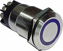 Drucktaster Edelstahl Taster mit Ringbeleuchtung in BLAU mit 6 Schraub Kontakten 1x Schliesser und 1x Öffner 19mm Ø Klingelknopf Hupenknopf 002_blau