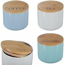 DRULINE 3er-Set Aufbewahrungsdose Porzellan Bambusdeckel Bunt Keramik Dose Vorratsdose Coffee (Blau) - Tea (Weiß) - Sugar (Mint)