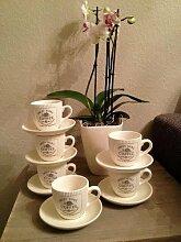 DRULINE 6 x Vintage Landhaus Kaffeetasse Tasse mit