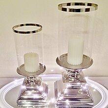 DRULINE Eckig und Rund Windlicht Kerzenständer Kerzenleuchter Silber Keramik (ECKIG Groß)
