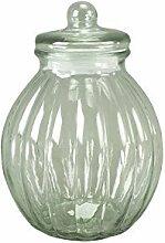 DRULINE Glasdose mit Deckel Bauchig Aufbewahrungsglas Vorratsglas Konfekt Shabby Chic Groß (Höhe: 30,5 cm)