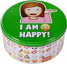 DRULINE Keksdose Emoji Smiley Blechdose Dose Emoticon Gebäckdose Keksdose Vorratsdose I am happy!