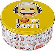DRULINE Keksdose Emoji Smiley Blechdose Dose Emoticon Gebäckdose Keksdose Vorratsdose I love to party