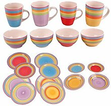 DRULINE Kombiservice Tafel-Service Geschirrset Porzellan Geschirr Set Tasse Teller Streifen BUNT (Kuchenteller, 4er-Set (1x jede Farbe))