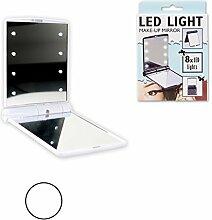 DRULINE LED Schminkspiegel Spiegel Kosmetikspiegel 8 LEDs Taschenspiegel Klappspiegel Weiß