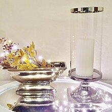 DRULINE Rund Windlicht Kerzenständer Kerzenleuchter Kerzen Silber Keramik (Groß)