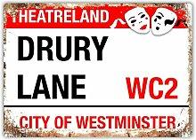 Drury Lane City Of Westminster Blechschild Retro