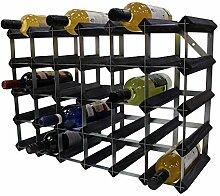 DS Wineware Weinregal, Holz und Stahl, Black Ash,