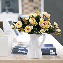 DSAAA Fake Blumen Home Zubehör synthetische Rose Blumensträuße Silk Flower Set,Gelb