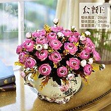 DSAAA Fake Blumen klassischer Keramik Vasen Home Wohnzimmer Zubehör synthetische Rose silk Blume,Rosa